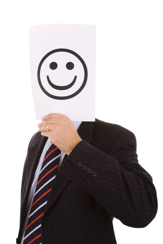 businessman impostor fear happy