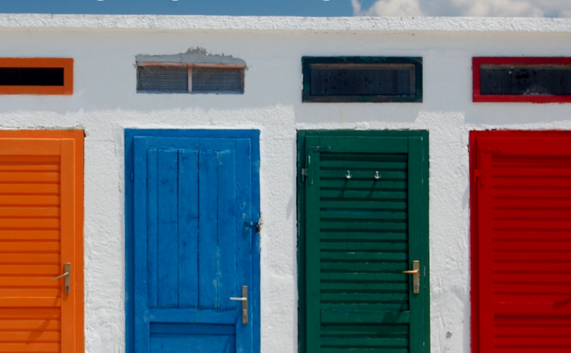 four brightly colored doors to choose from